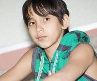 11年的男孩的画象。 图库摄影