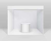 介绍的白色空白的室内陈列摊立场与柜台 皇族释放例证