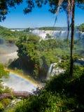 水的看法在Cataratas del伊瓜苏公园下跌 库存图片