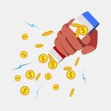 的磁铁和手中金黄的硬币 免版税库存图片