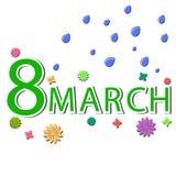 的祝贺3月八日 花、雨珠和文本,仿制appliqus的安排 向量 免版税库存图片