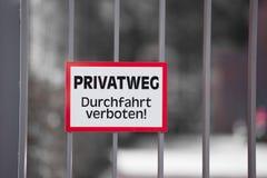 的私有财产警报信号用德语 图库摄影