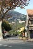 绞的秋天路, Eze法国 免版税图库摄影