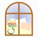 轻的窗口城市言情咖啡休息传染媒介 库存照片