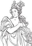的线型希腊女神 彩图页的了不起的模板 古典主义 古老希腊 神话和传奇 免版税图库摄影