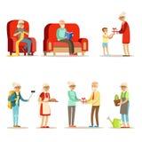 活的老人充分居住和享受他们的爱好和休闲套微笑的年长漫画人物 库存例证