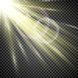 轻的聚光灯白色 光线影响的模板对透明背景 也corel凹道例证向量 库存图片