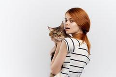 轻的背景的美丽的少妇拿着一只猫 免版税库存照片