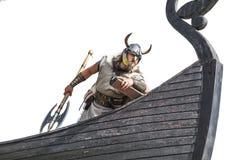 他的船的坚强的北欧海盗 免版税库存照片