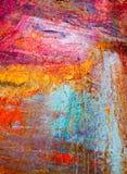 绘的艺术性的明亮的颜色油漆构造抽象艺术品 难看的东西墙纸的现代未来派样式 免版税库存照片