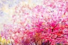 绘的花卉构成佐仓或野生喜马拉雅樱桃 图库摄影
