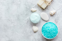 浴的蓝色集合与盐和壳石背景顶视图嘲笑 免版税库存照片
