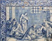 水的角色在18世纪铺磁砖盘区 免版税库存图片