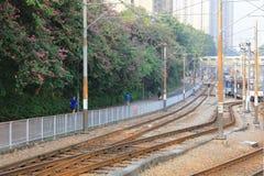轻的路轨在屯门香港 免版税库存图片