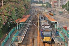 轻的路轨在屯门香港 免版税图库摄影