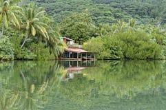 水的边缘的小屋在热带森林里 免版税图库摄影