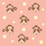 继续的逗人喜爱的动画片猴子样式 向量例证 免版税库存照片