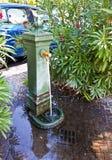 的里雅斯特,意大利-古色古香的绿色绘了喷泉在Barcola prome 免版税库存图片