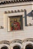 的里雅斯特,意大利- 12月19 :圣迈克尔马赛克塞尔维亚东正教的门面的在的里雅斯特 免版税库存照片