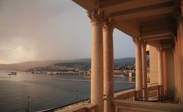 的里雅斯特,从Miramare城堡的看法 库存照片