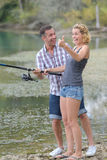 去的钓鱼对河 免版税库存图片