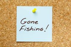 去的钓鱼的稠粘的笔记 免版税库存图片