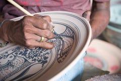 绘的陶瓷瓦器 免版税库存照片