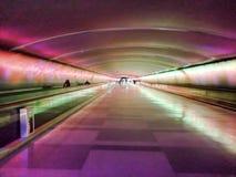 轻的隧道,底特律国际机场 免版税库存照片