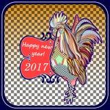 2017年的雄鸡手画标志 中国日历红色雄鸡的年 您能为打印使用 库存图片