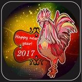 2017年的雄鸡手画标志 中国日历红色雄鸡的年 您能为打印使用 图库摄影