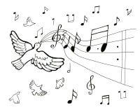 画的音乐鸟样式 免版税库存照片