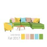2017年的颜色在室内设计 图库摄影