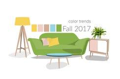 2017年的颜色在室内设计 库存照片