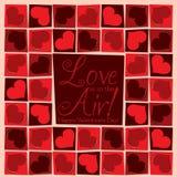 质朴的马赛克爱心脏情人节卡片 库存图片