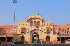 的黎波里门历史修造的斋浦尔印度 免版税库存照片