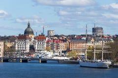 水的,斯德哥尔摩,瑞典城市 免版税库存照片