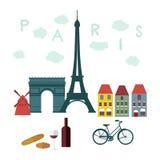 巴黎的,法国平的时髦的传染媒介例证 免版税库存图片