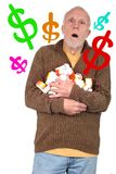 他的医学的费用淹没的老年人 图库摄影