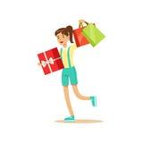 的年轻美丽的妇女有礼物盒和购物袋五颜六色的字符的便衣导航例证 图库摄影