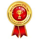 年的Best Company 2016年-金黄红色奖丝带 库存图片
