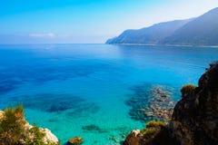 贴水的Nikitas海在莱夫卡斯州,希腊 免版税库存照片