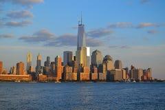 从水的NYC的财政区 免版税图库摄影