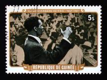 的Toure总统在集会,几内亚-第30周年serie的民主党发表演说,大约1977年 免版税图库摄影