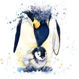 皇企鹅T恤杉图表 与飞溅水彩的皇企鹅例证构造了背景 异常的例证wa