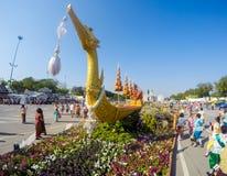 皇家冬天节日,联合国Ai Rak Khlai Khwam Nao,皇家广场、Dusit宫殿和萨娜姆Suea Pa的,曼谷,泰国March3,2018的:Repl 免版税库存照片