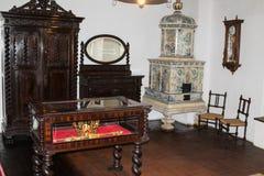 皇家卧室的片段麸皮城堡的 麸皮城市在罗马尼亚 免版税库存图片