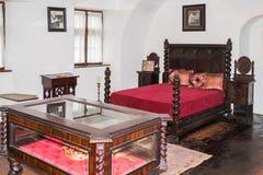 皇家卧室的片段麸皮城堡的 麸皮城市在罗马尼亚 库存图片