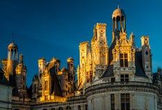 皇家城堡Chateau在日落的de Chambord,法国 库存照片