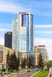 皇家广场,旅馆Doubletree希尔顿,银行 白俄罗斯共和国,米斯克, Nemiga, 2017年5月20日 库存照片