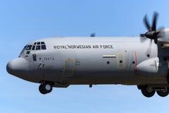 皇家挪威人空军队Luftforsvaret洛克西德・马丁C-130J-30赫拉克勒斯军用货物航空器 免版税库存图片